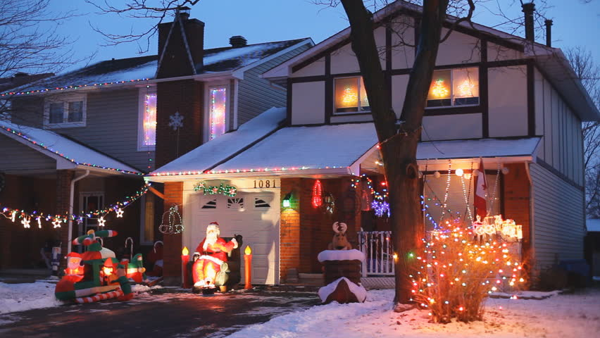 north american houses brightly light with christmas lights and decorations at night hd stock video - Christmas Lights Video