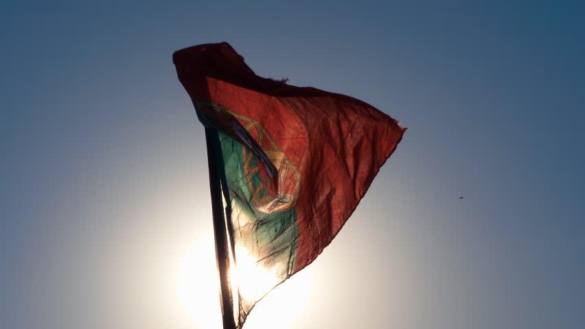 Portugal Flag Slow Motion