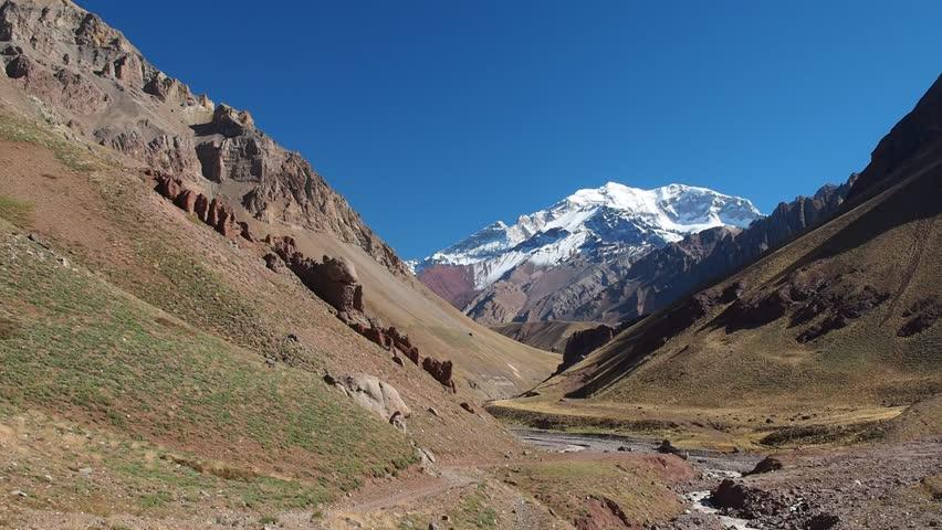 Aconcagua Mountain and Horcones River, Aconcagua Provincial Park, Central Andes, Mendoza Province, Argentina