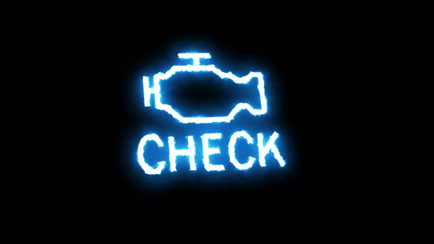 Check engine light symbol that pops up on dashboard when something goes wrong with the engine