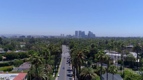 Aerial Drone Stock Video of Beverly Hills Street with Palm Trees and houses