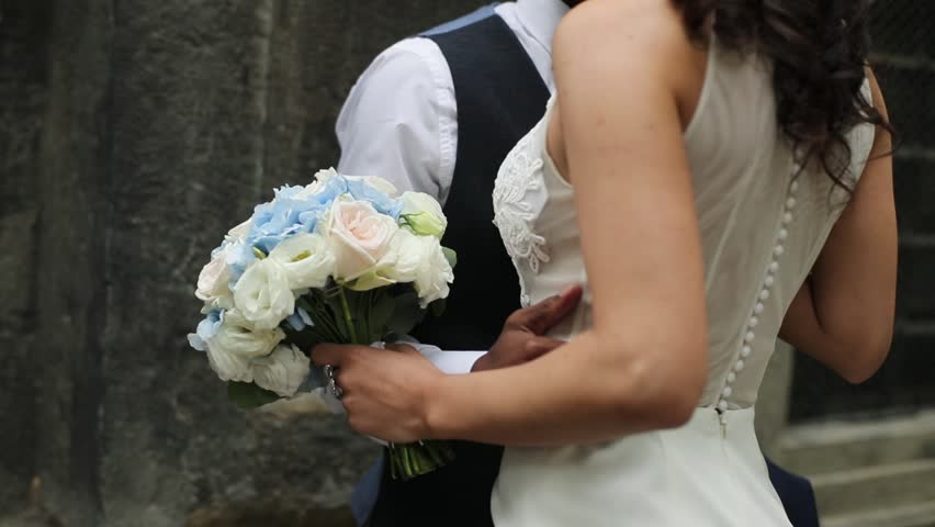 Happy african american groom and caucasian bride. | Shutterstock HD Video #32588194