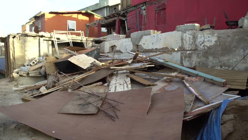 San Juan, Puerto Rico - October 03, 2017: Collapsed building wood scrap after hurricane Maria in Puerto Rico