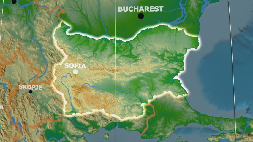 The Bulgaria Area Map In The Azimuthal Equidistant Projection