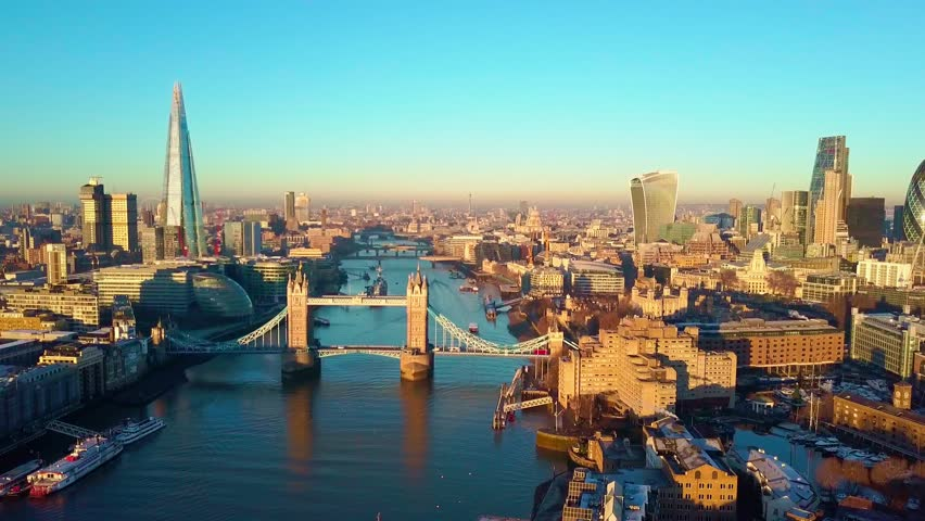 Aerial cityscape flythrough video of London and the River Thames with a view of London Tower Bridge and the Shard | Shutterstock HD Video #32664280