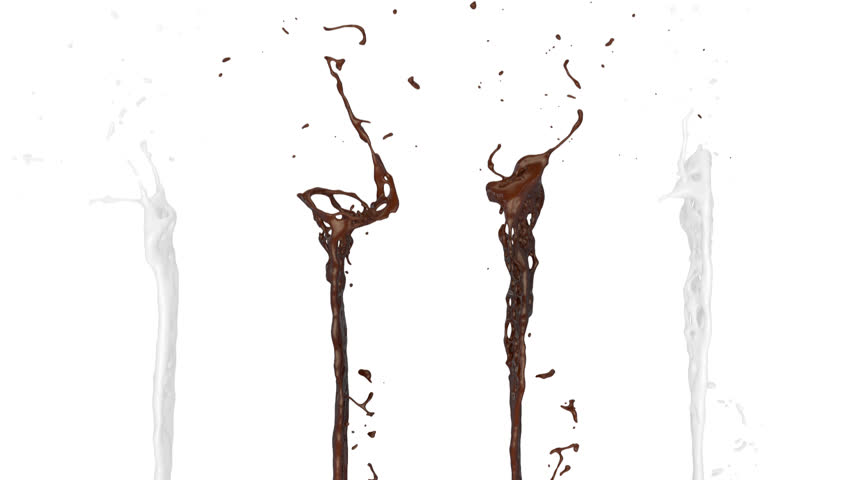 chocolate and milk splashes in slow motion, isolated on white (FULL HD)