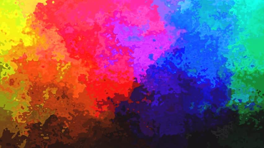 Rainbow Color Digital Smoke Flowing Over Black Background ...