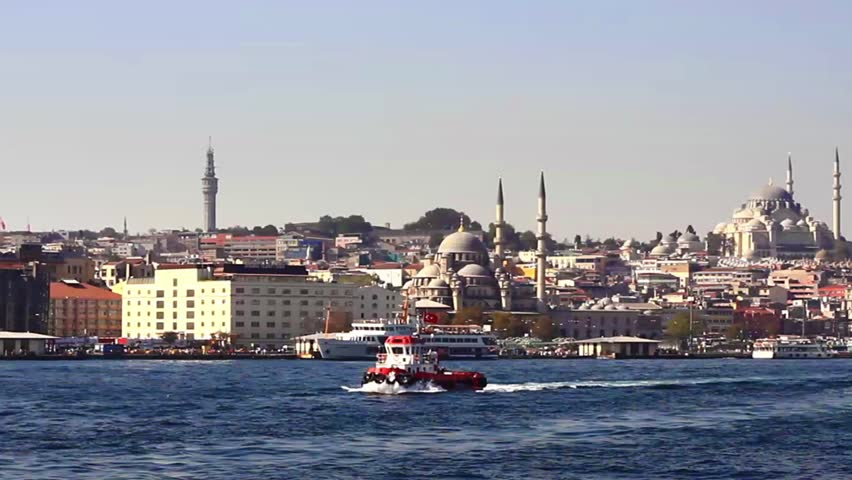 Istanbul Valide Sultan Mosque from the waterside. Eminonu side is major travel