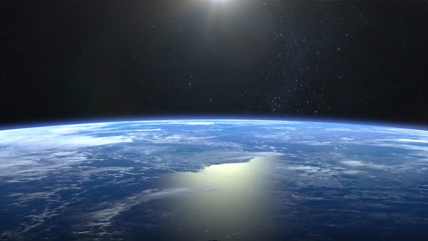 Beautiful View of Earth from space. Sunrise. Flight over the Earth. 4K. The camera moves forward. 3D Animation.