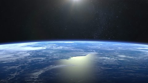 Beautiful View of Earth from space. Sunrise. Flight over the Earth. 4K. The camera moves forward. 3D Animation. NASA.