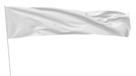 Long blank plain white flag on flagpole flying and waving in the wind, surrender flag, 3D animation with luma matte alpha channel included
