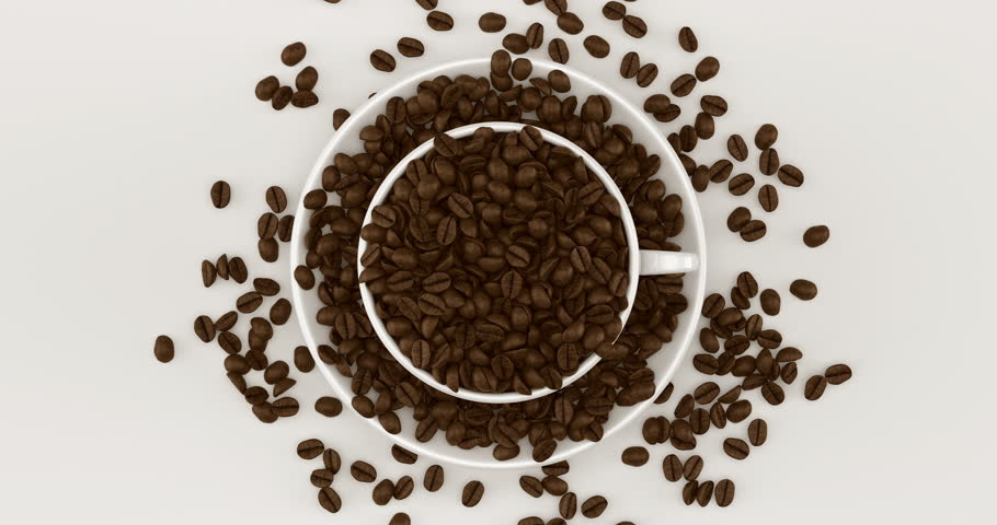 Coffee beans in a cup rotating. 3d animated illustration 3d animated rendering