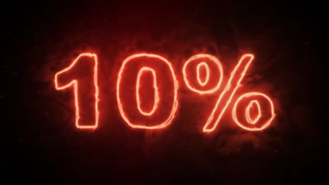 10 percent off - hot burning symbol letters on dark background