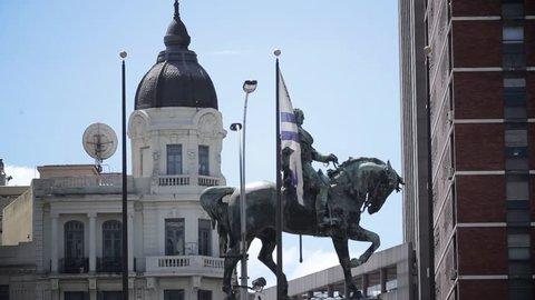 Statue of General Jose Artigas on horseback in Independence Square, Montevideo.