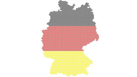Map and flag of Germany , dot style animation. + Alpha channel