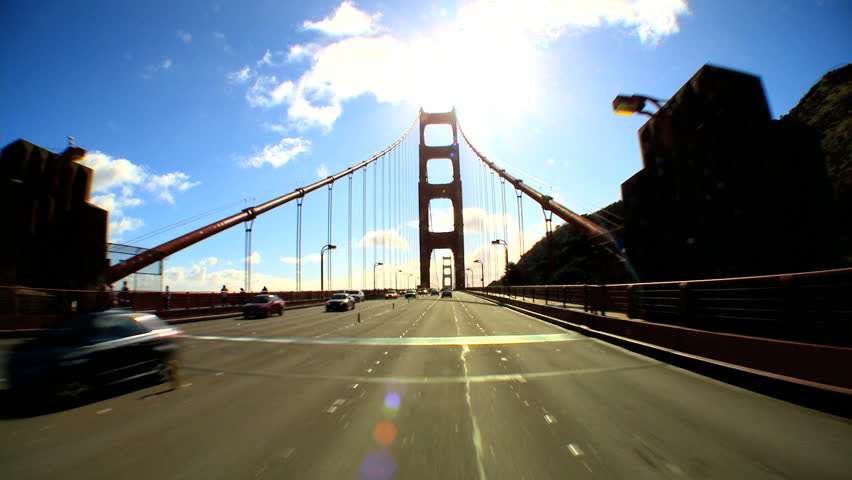 Point-of-view with fish-eye driving the Golden Gate Bridge