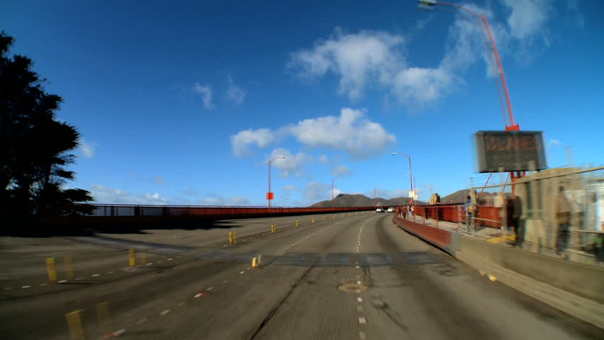 "Time-lapse ""point-of-view"" with fish-eye of driving the Golden Gate Bridge"