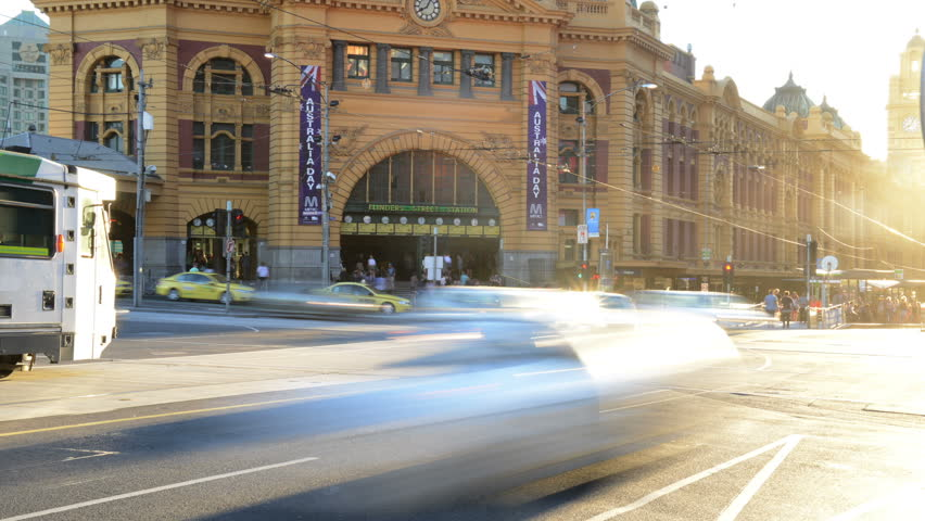 MELBOURNE, MELBOURNE- JANUARY 16: Time lapse of Traffic Crossing Flinders Street, Melbourne on January 16, 2013.
