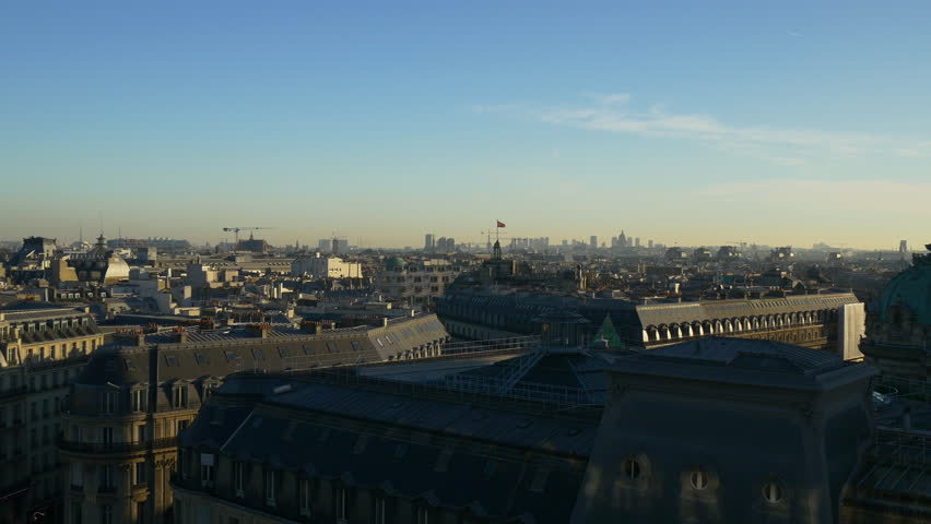 Evening paris city famous galeries lafayette rooftop cityscape panorama 4k france | Shutterstock HD Video #32763523