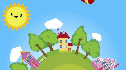 Day and night Animation. Cartoon. Village. Seamless loop. Beautiful 3D animation. Cute Sun and Moon. 24 Hours.