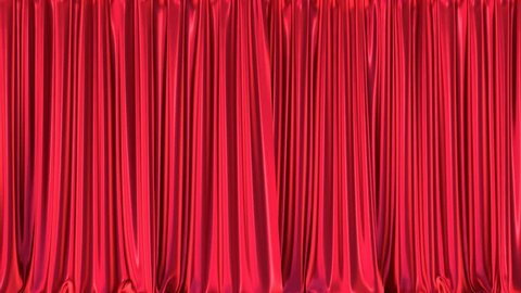 Stage or window red curtains realistic 3D animation, chroma key and alpha matte are included