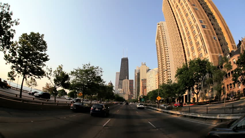 POV shot of driving on a street in Chicago in the afternoon