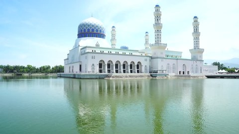Footage of Kota Kinabalu City Mosque, Sabah, Borneo. Wonderful view during sunny day.