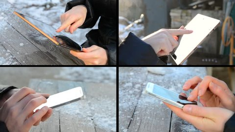 Person girl working on the tablet sitting at a wooden table close-up on the street outdoors on a winter day. Caucasian. Multicam split screen group video wall collage montage seamless loop.