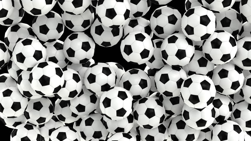 Animated simple soccer balls with plain white and black material falling and tumbling filling up container against transparent background. Top camera view.  Alpha channel embedded with PNG file.   Shutterstock HD Video #32799757