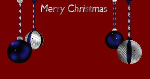 rotating Christmas tree baubles in blue-silver with sparkling stars and text Merry Christmas
