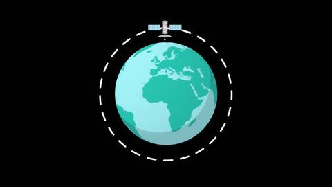 Alpha channel render globe .Flat spinning Earth with communication network and satellites.Cartoon globe animation seamless loop full hd clip