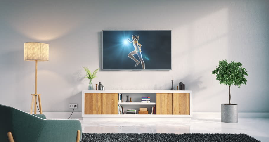 Footage of a living room led tv on white wall with wooden table and plant in pot showing hockey game moment on 3D rendered sports stadium.