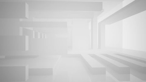 Abstract white interior highlights future. Architectural background. 3D animation and rendering.