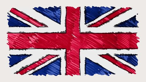 stop motion of marker drawn British flag cartoon animation - new quality national patriotic colorful symbol video footage
