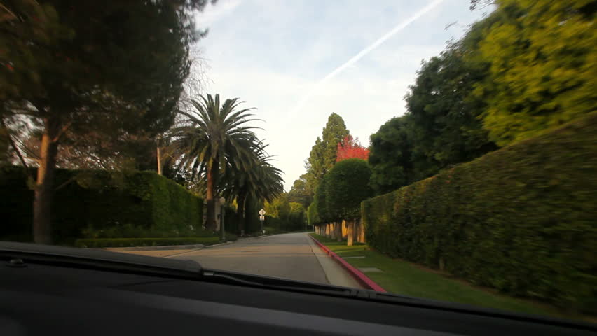 Driving on Beverly Hills Los Angeles
