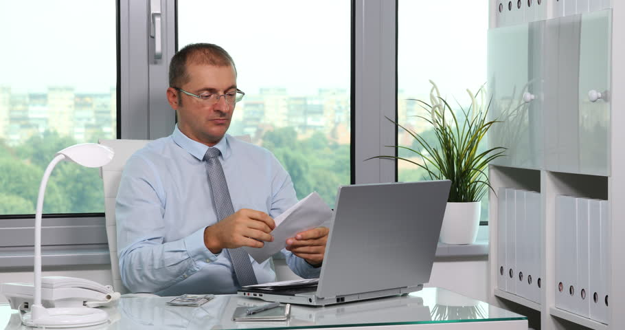 Mature Business Man Counting Usd Bills Putting Money into Receipt in Office Room | Shutterstock HD Video #32838532