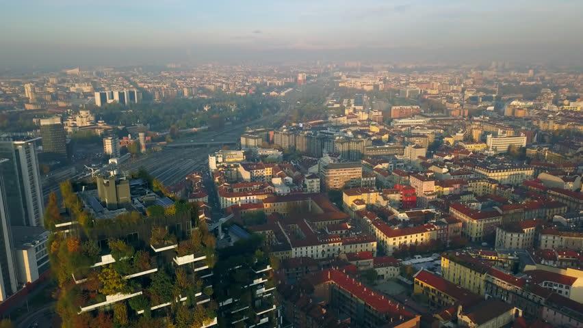 Milan aerial view near bosco verticale