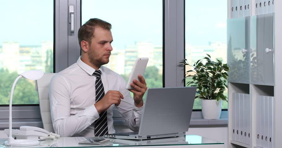 Good Looking Business Man Serious Look Camera Inside Place Office ...