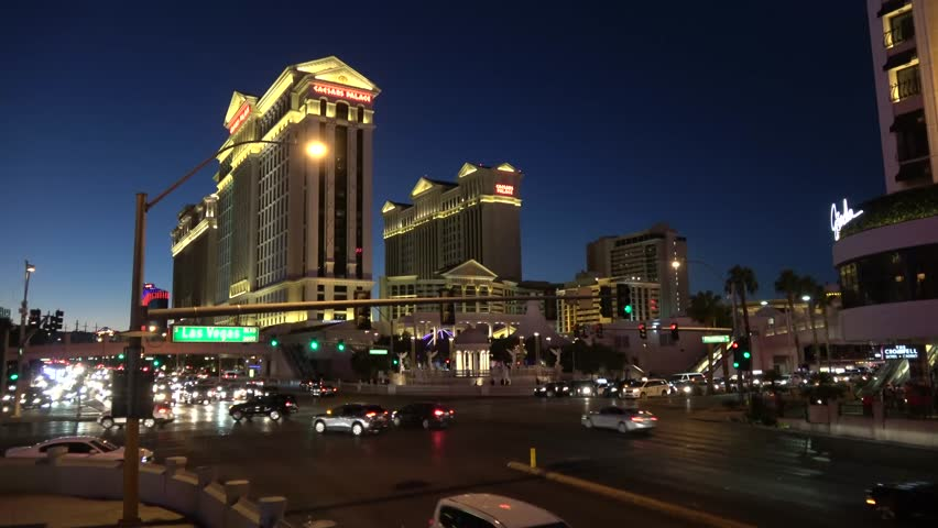 Beautiful street view of Las Vegas strip by night - LAS VEGAS / NEVADA - OCTOBER 12, 2017 | Shutterstock HD Video #32843713
