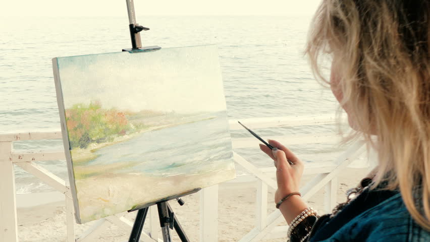 Young Woman Artist Painting A Stock Footage Video 100 Royalty Free 32863510 Shutterstock