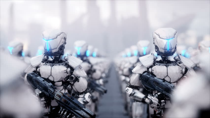 Invasion of military robots. Dramatic apocalypse super realistic concept. Future. 4k animation. | Shutterstock HD Video #32877250