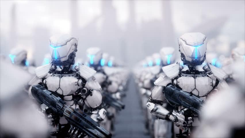 Invasion of military robots. Dramatic apocalypse super realistic concept. Future. 4k animation.