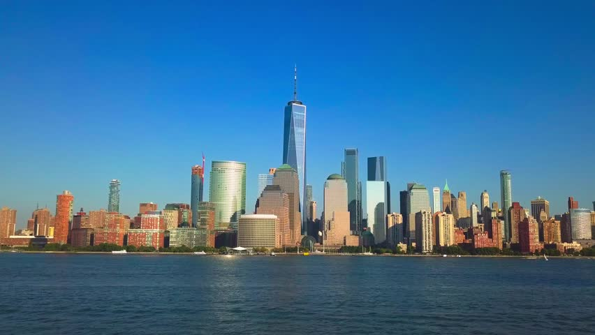 Approaching New York City skyline over the Hudson River | Shutterstock HD Video #32884336