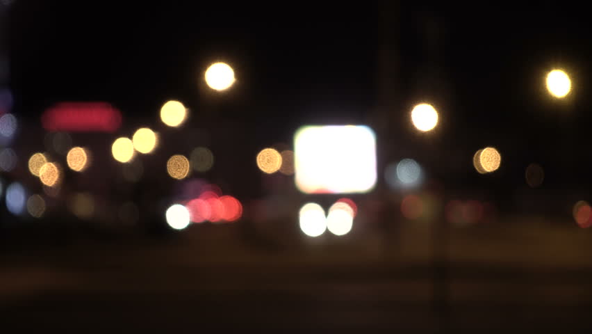 Defocused lights Los Angeles street abstract . City blur background. Moving bokeh circles of night traffic. | Shutterstock HD Video #32888461