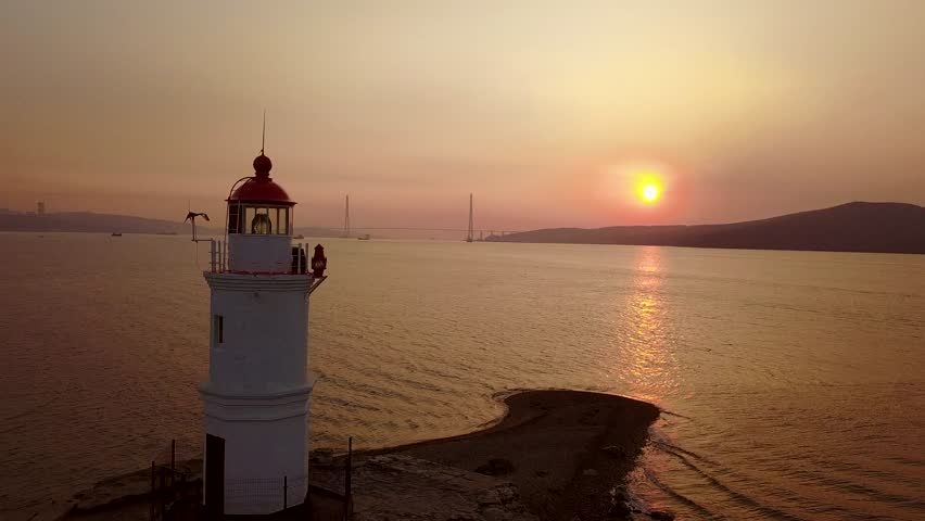 Aerial view of the Tokarevskiy lighthouse - one of the oldest lighthouses in the Far East, still an important navigational structure and popular attractions of Vladivostok city, Russia.