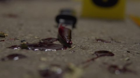 Knife With Blood Murder Weapon. Crime Scene Site With Recent Violent Domestic Attack Site. Forensics Examine Evidence. In 4K At Night. Evidence Markers.