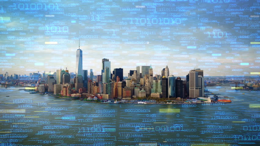 Big data over New York aerial shot. Futuristic city where every building, appliance, device and person is connected, forming a computer network  Perfect to illustrate: internet of things, smart cities   Shutterstock HD Video #32947360