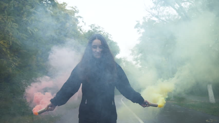 Girl with smoke