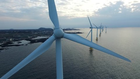 renewable energy generated from offshore wind turbines, Jeju island, South Korea