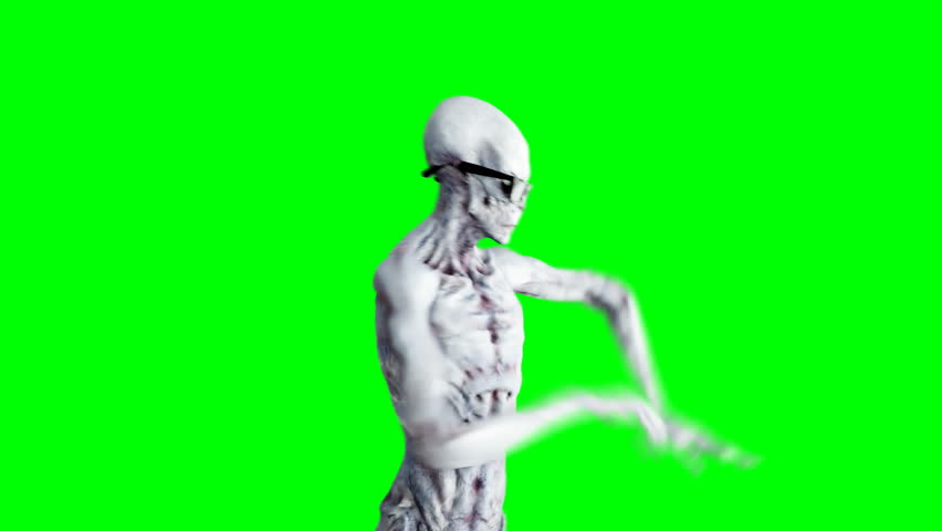 Funny alien dancing hip hop. Realistic motion and skin shaders. 4K green screen footage.